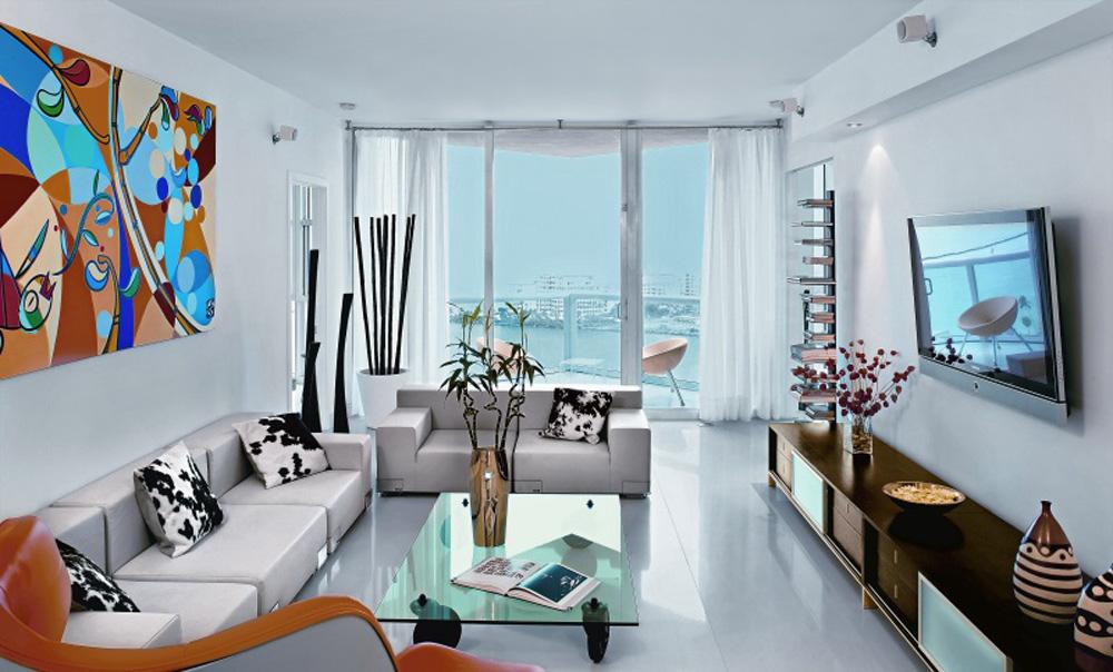 Đối với phòng khách căn hộ , bộ bàn ghế đóng vai trò chủ đạo nên cần đầu tư kỹ càng nhất